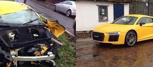 В Великобритании 26-летний юноша перевернул новый спорткар Audi R8