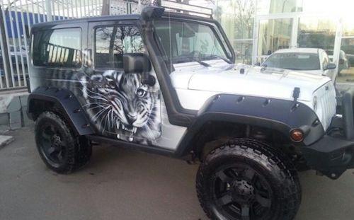Омич выставил на реализацию черно-белый вседорожный автомобиль сольвом итигром надверях