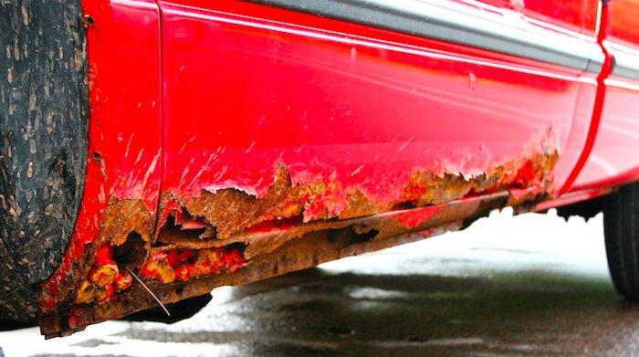rusty car bottom
