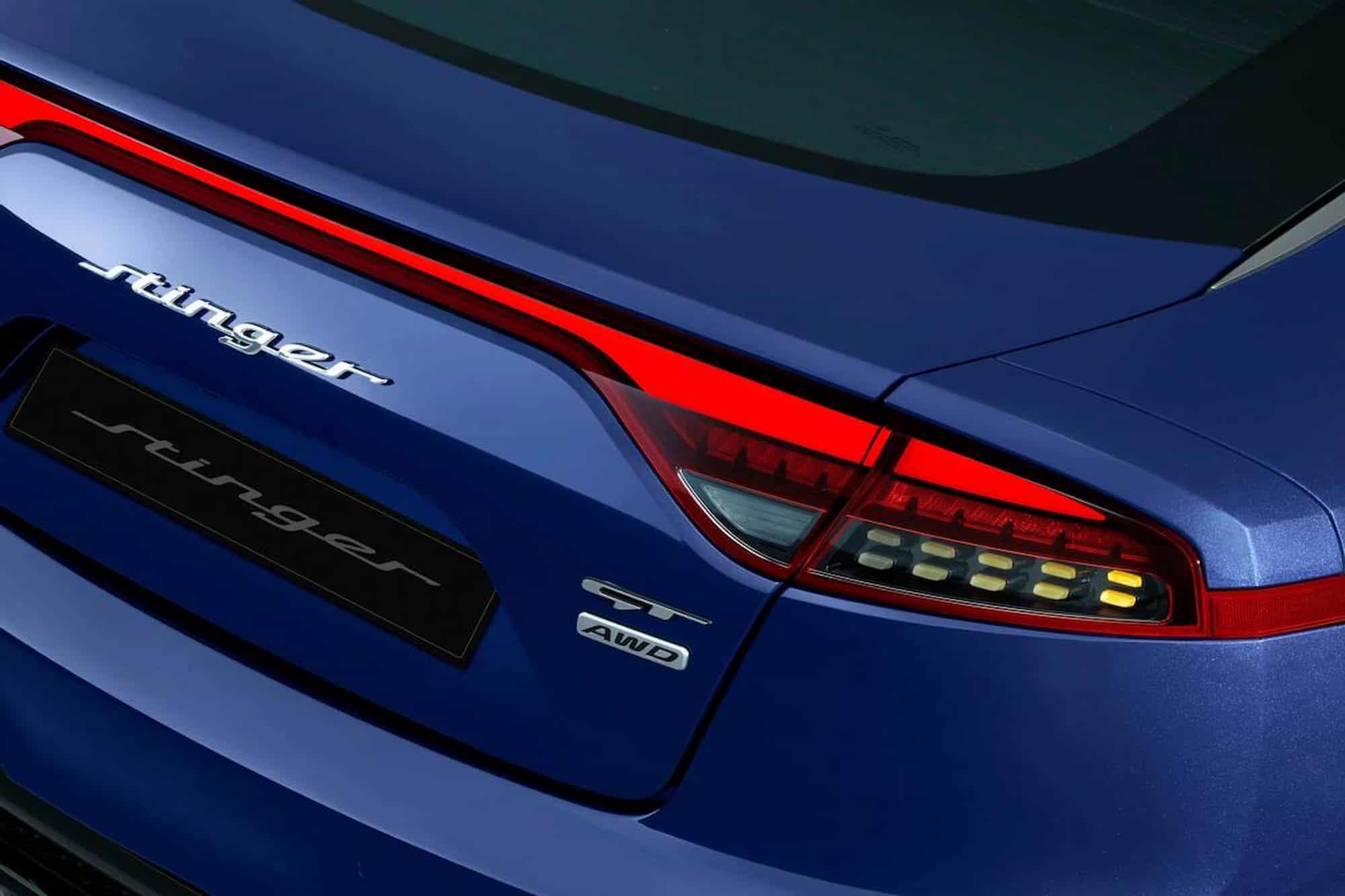 new kia stinger oem badge blue detail exterior rear taillight